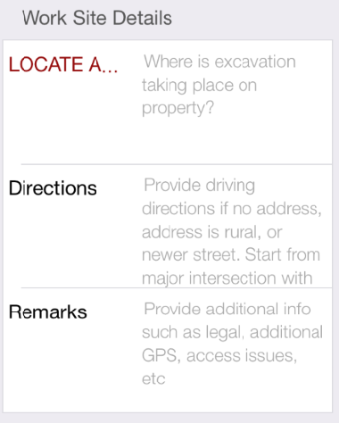 "In the ""Remarks"" field, enter any GPS Coordinates, legal descriptions, access issues, and/or any additional info that may be helpful to locators."
