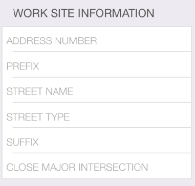 If your locate request includes an address, fill out the Address number, Prefix, Street Name, Street type and Suffix (if applicable).