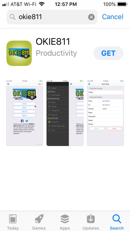 "At the App store, search ""OKIE811"" to download the app"