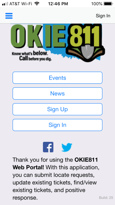 "Open the OKIE811 App and select ""Sign Up"" on the home page."