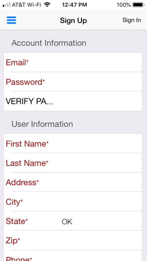 Next is your User Information: you will enter your first and last name as the user under this account.  Enter you/your company mailing address, city, state, and Zip.  Enter you/your company phone number and extension if applicable.