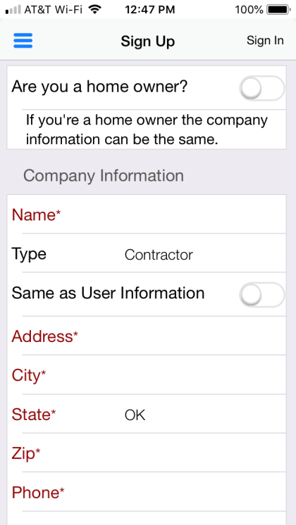 "Next is the Company Information.  If you are a homeowner, drag the slider button to the right, it will turn green.  This will automatically fill out the fields under ""Company Information"" with the information you entered under the User Information section."