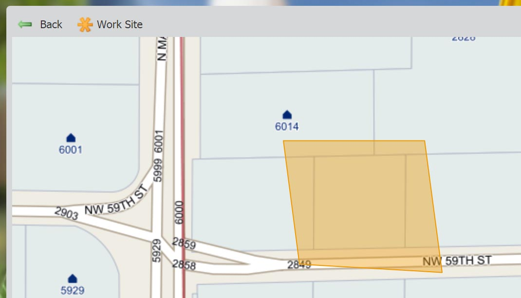 "If you pan away from the dig site marking, select ""Work Site"" to zoom back to the marked dig site."