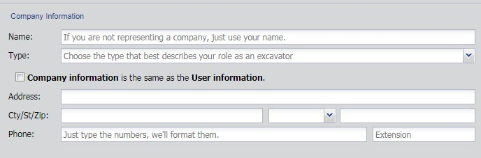 enter your company information