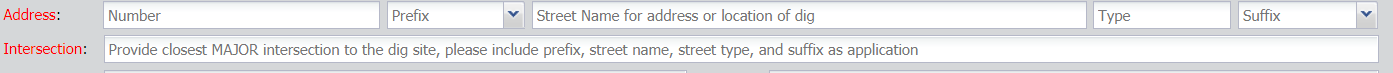 enter the address and intersection in the appropriate fields
