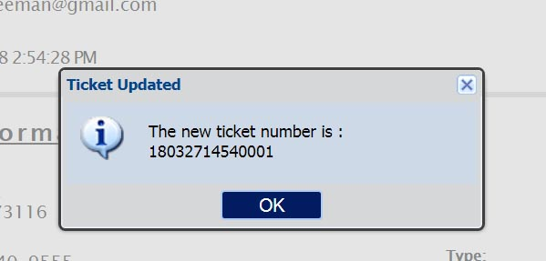"Click ""OK"" to submit the Update ticket – You will be presented with a new ticket number and the ticket details for the new ticket will be displayed on the screen."