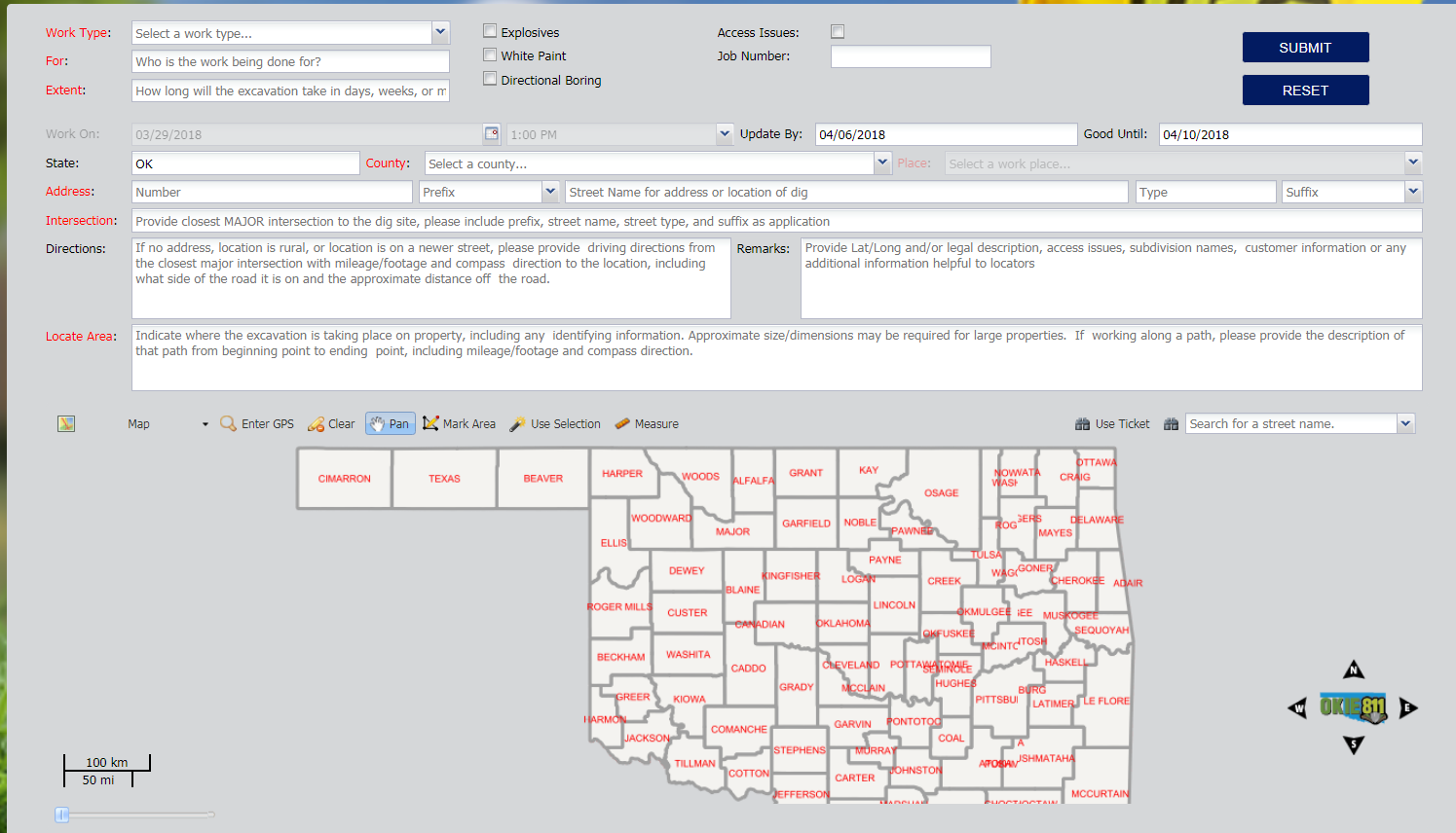 When submitting a locate request ticket via the OKIE811 Web Portal, the excavator has the option to map the dig site