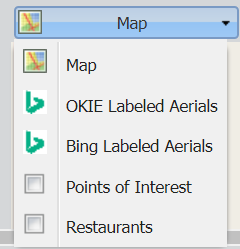 "At the left end of the toolbar, you can view additional mapping layers by clicking on the drop-down arrow on the right side of the ""Map"" button."