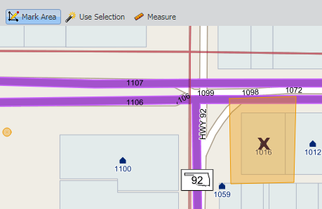 "To manually mark the dig site, use the ""Mark Area"" tool to draw a polygon around the dig site.  Single-click to add vertex point and double-click to complete the polygon. The marking should be orange when complete. This is the marking that will be sent to OKIE811 when processing the ticket."