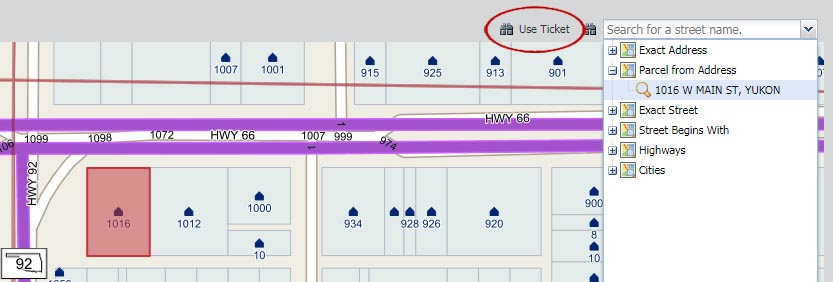 "If the map results do not automatically display, click ""Use Ticket"" located at the top right corner of the mapping screen to pull the address or street information"
